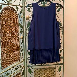 Theory blue ruffled tunic and matching pant